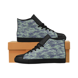 Jungle Tiger Stripe Green Camouflage Aquila High Top Microfiber Leather Men's Shoes (Model 027)