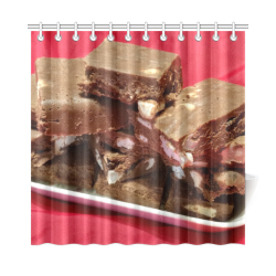 """Cherry Chocolate Marshmallow Fudge On A Plate Shower Curtain 72""""x72"""""""