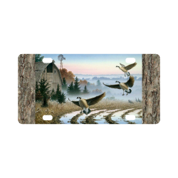 Geese In A Farm Field Classic License Plate