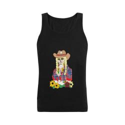 Cowgirl Sugar Skull Black Men's Shoulder-Free Tank Top (Model T33)
