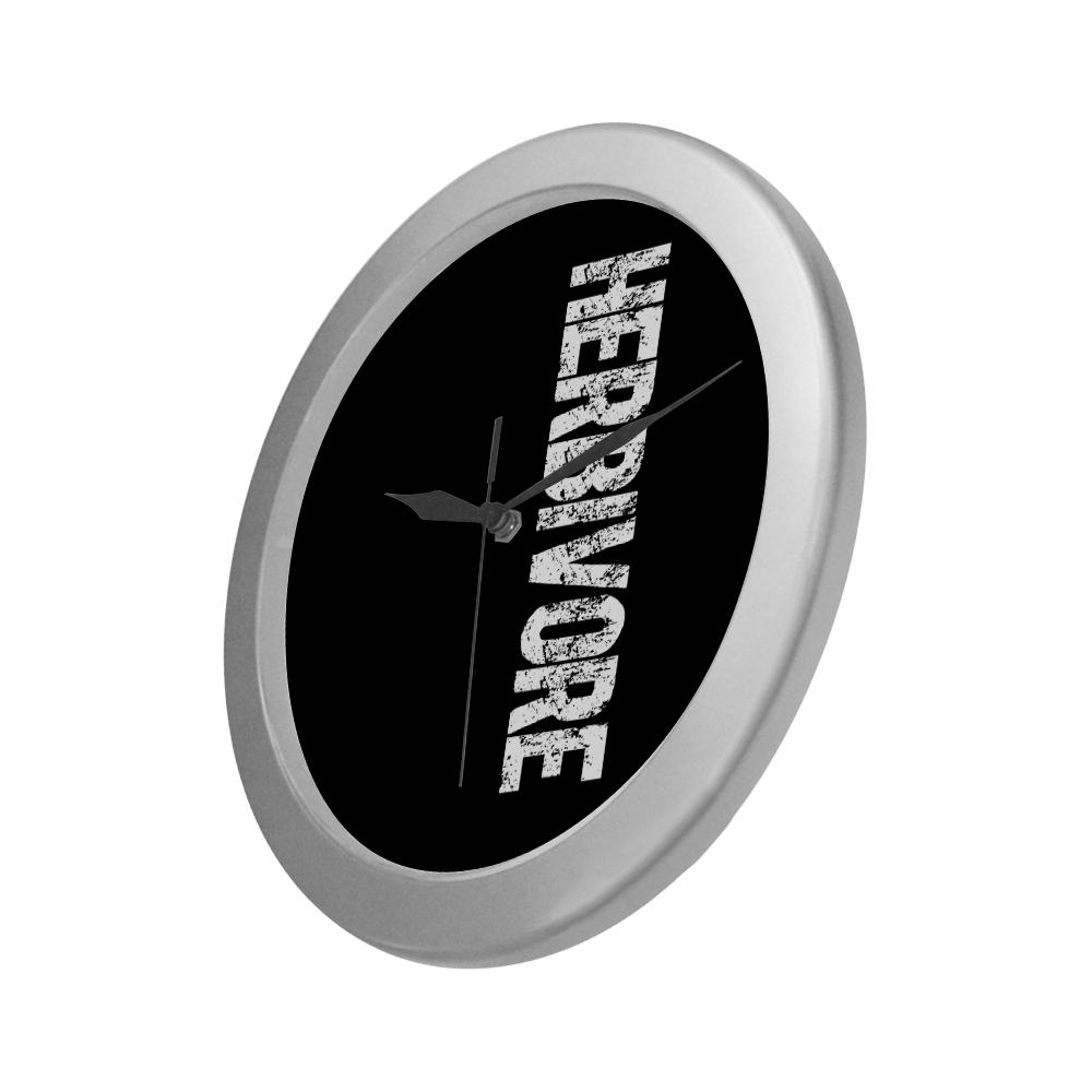 Herbivore (vegan) Silver Color Wall Clock