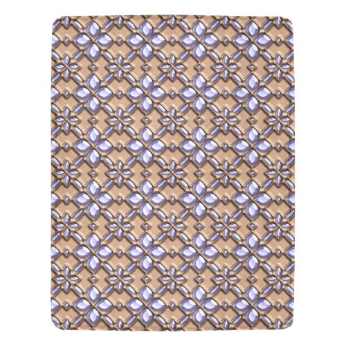 Blue glass pattern in brown background. Ultra-Soft Micro Fleece Blanket 54''x70''