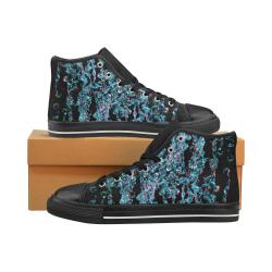 Blue Bubbles Dark Water Photo Women's Classic High Top Canvas Shoes (Model 017)