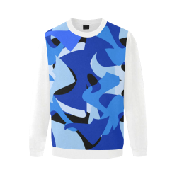 Camouflage Abstract Blue and Black (Vest Style) White Men's Oversized Fleece Crew Sweatshirt (Model H18)
