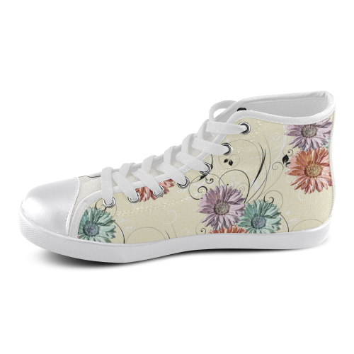 Flowers on Yellow Women's High Top Canvas Shoes (Model 002)