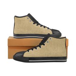 Burlap Coffee Sack Men's Classic High Top Canvas Shoes /Large Size (Model 017)