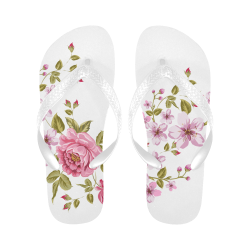 Pure Nature - Summer Of Pink Roses 1 Flip Flops for Men/Women (Model 040)