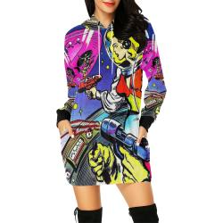 Battle in Space 2 All Over Print Hoodie Mini Dress (Model H27)
