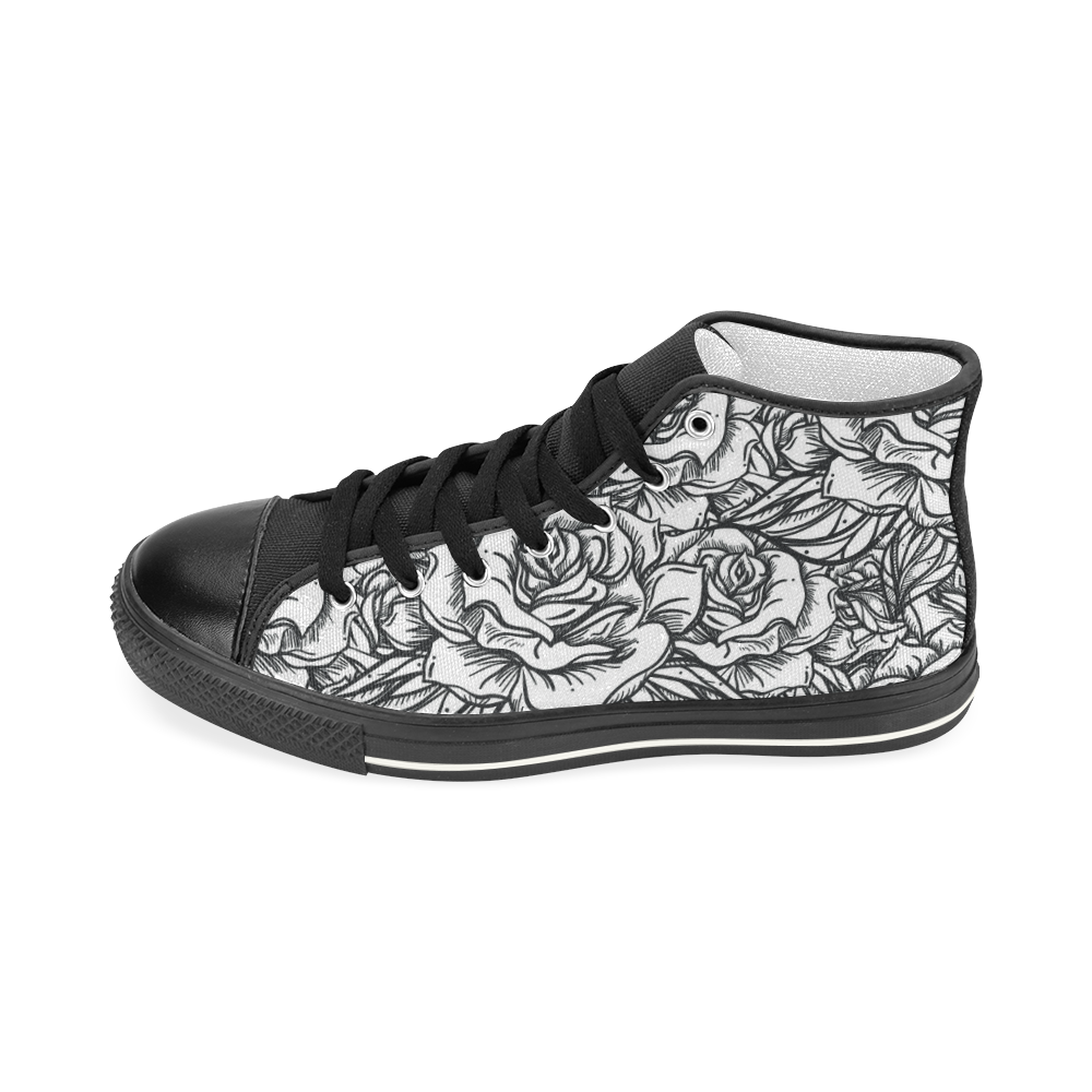Romantic Roses Pattern B&W Women's Classic High Top Canvas Shoes (Model 017)