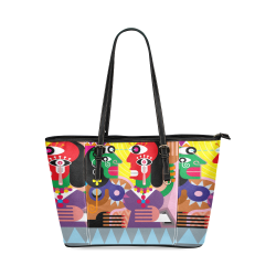 Dancing Gypsy Women Leather Tote Bag/Small (Model 1640)