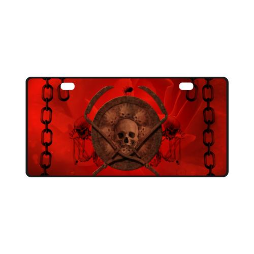 Skulls on red vintage background License Plate