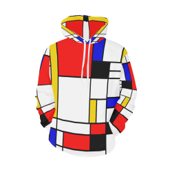 Bauhouse Composition Mondrian Style All Over Print Hoodie for Men (USA Size) (Model H13)