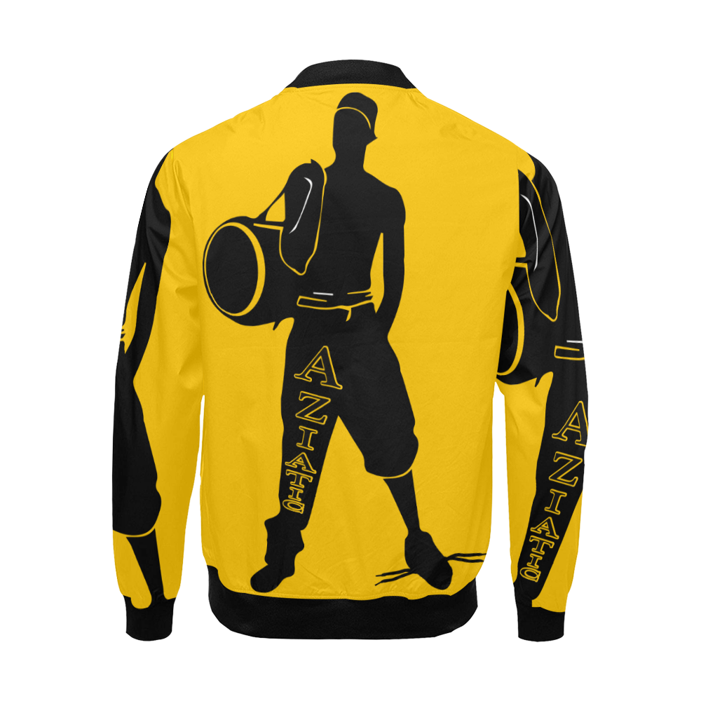 Aziatic Black & Yellow All Over Print Bomber Jacket for Men (Model H19)