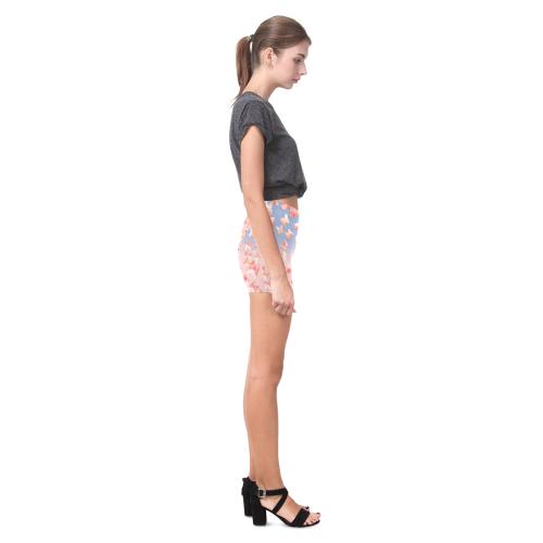 Pink Butterflies on Blue Skies Briseis Skinny Shorts (Model L04)