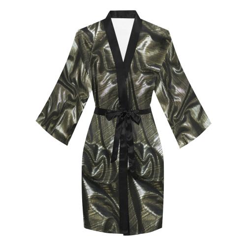 Silver Satin Long Sleeve Kimono Robe