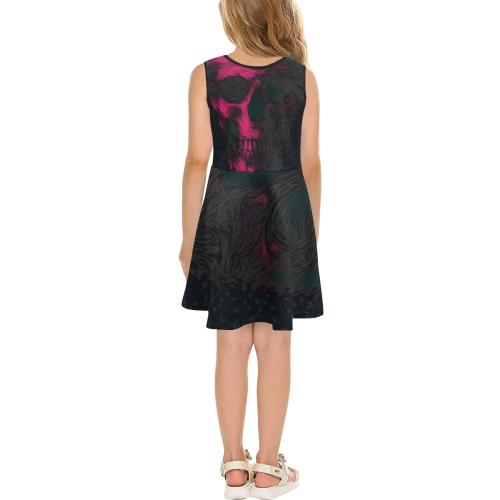 SKULL PUNK PINK GIRL SUNDRESS Girls' Sleeveless Sundress (Model D56)