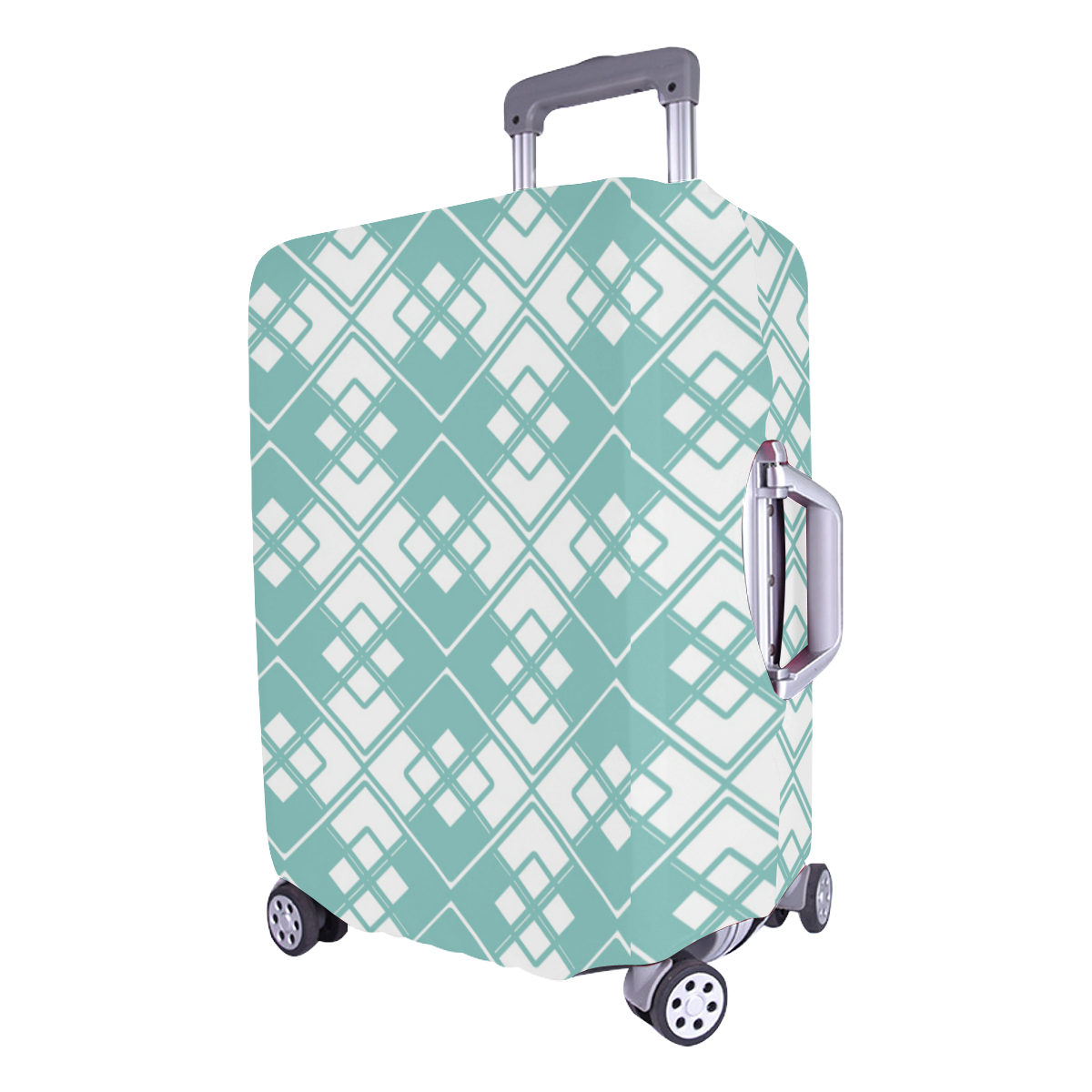 """Abstract geometric pattern - blue and white. Luggage Cover/Large 26""""-28"""""""