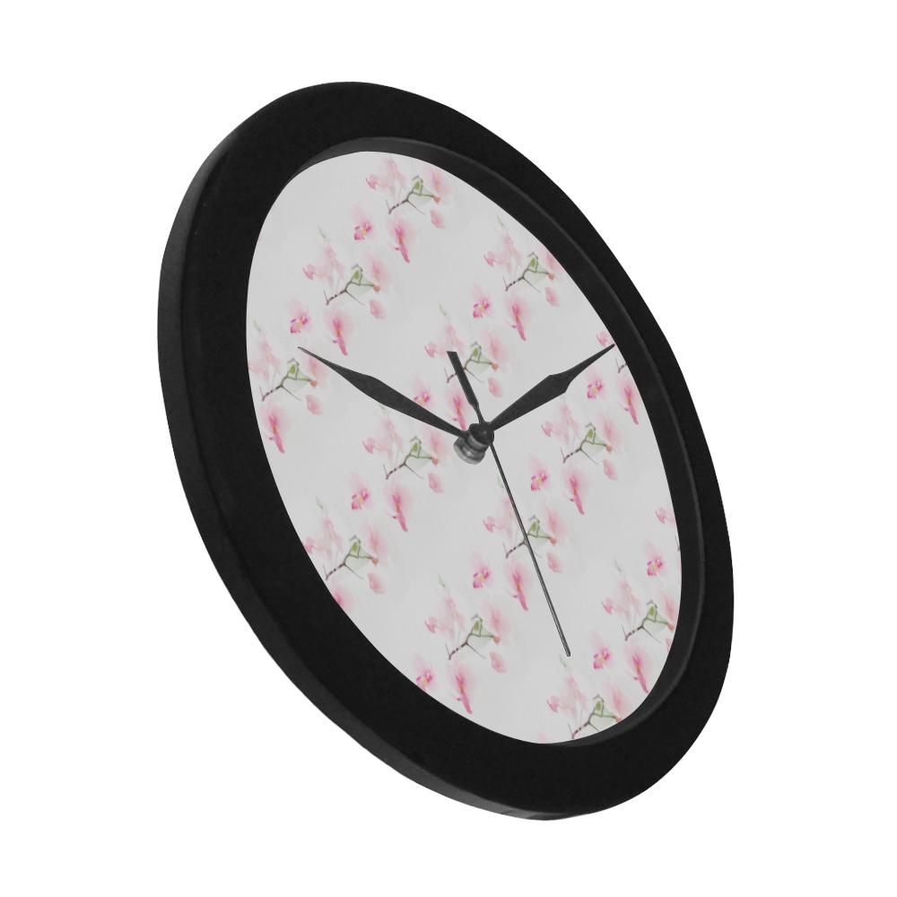 Pattern Orchidées Circular Plastic Wall clock
