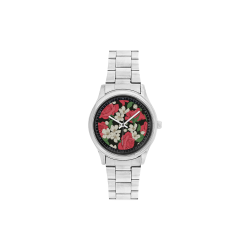 Pink, White and Black Floral Men's Stainless Steel Watch(Model 104)