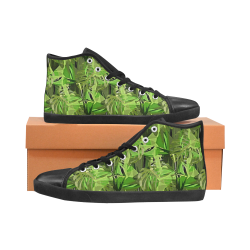Tropical Jungle Leaves Camouflage High Top Canvas Kid's Shoes (Model 002)