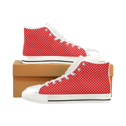 Red polka dots High Top Canvas Women's Shoes/Large Size (Model 017)