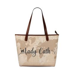 Lady Cath World Map Shoulder Tote Bag (Model 1646)