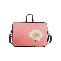 Gerbera Daisy - White Flower on Coral Pink Laptop Handbags 10""