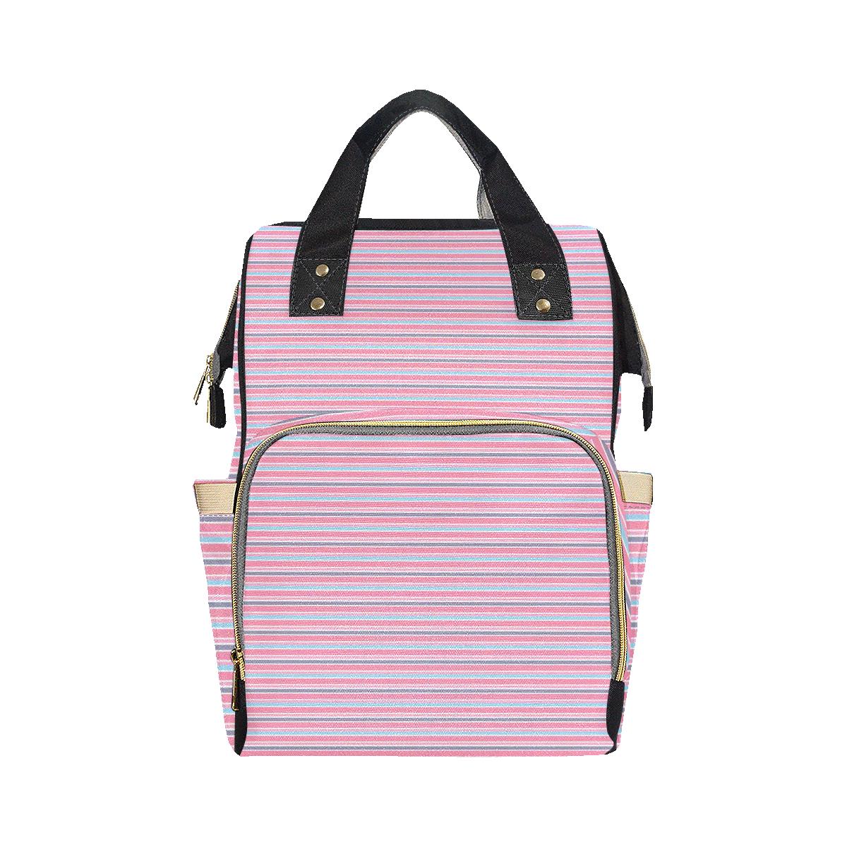 Pink Grey Turquoise Stripe Multi-Function Diaper Backpack/Diaper Bag (Model 1688)