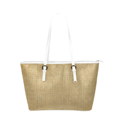 Burlap Coffee Sack in white Leather Tote Bag/Large (Model 1651)