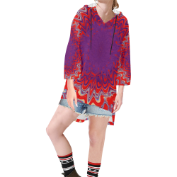 Blossom Step Hem Tunic Hoodie for Women (Model H25)
