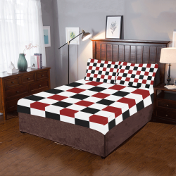 Black Red White Checker 3-Piece Bedding Set