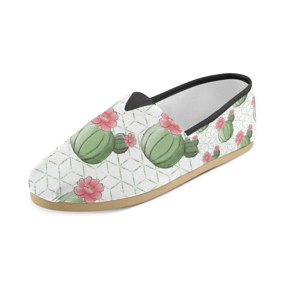 Cactus Shoes, Cactus Flowers Unisex Casual Shoes (Model 004)