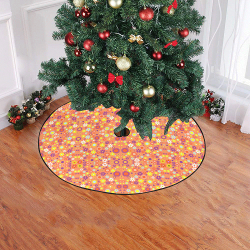 """Floral Pattern Living Coral Christmas Tree Skirt 47"""" x 47"""""""