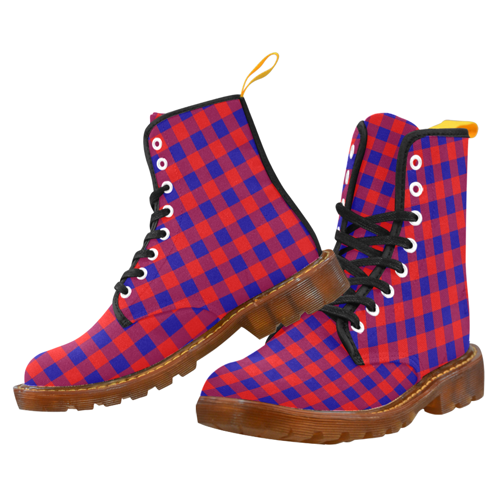 Red and Blue Checkered Martin Boots For Men Model 1203H