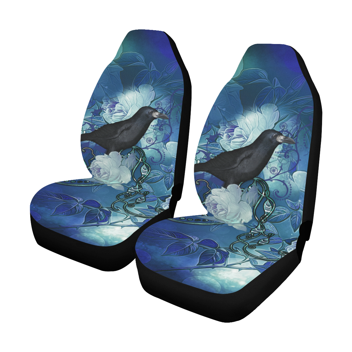 The crow with wonderful  flowers Car Seat Covers (Set of 2)