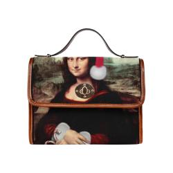 Christmas Mona Lisa with Santa Hat Waterproof Canvas Bag/All Over Print (Model 1641)