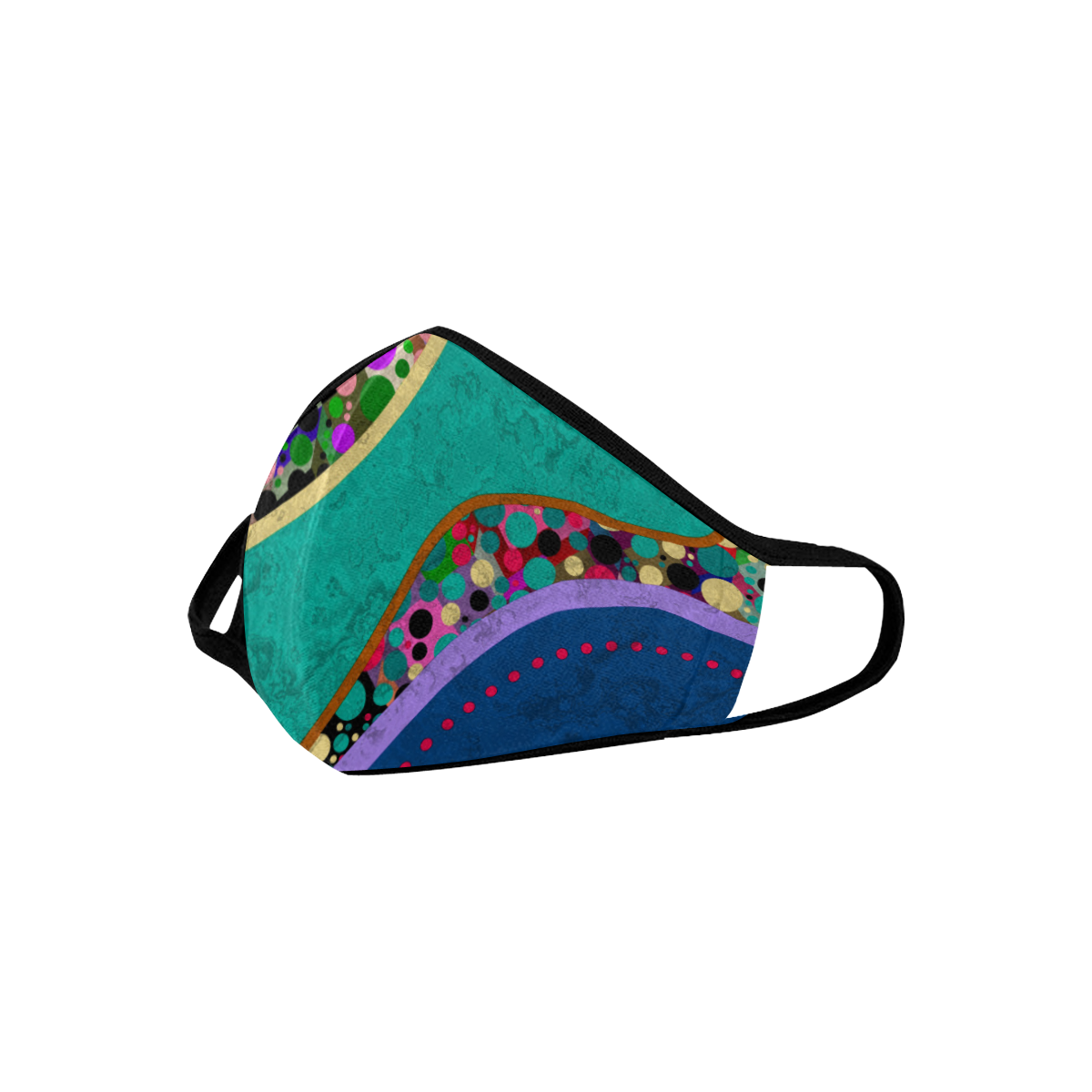 Abstract Pattern Mix - Dots And Colors 1 Mouth Mask