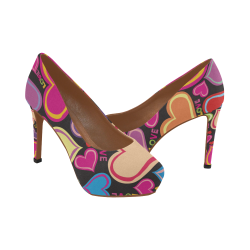 Cute Hearts Black Rainbow Women's High Heels (Model 044)