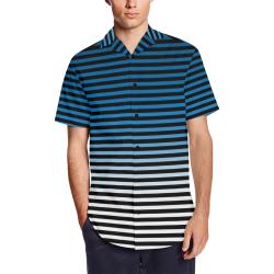 Stripes Fade Blue, Black Men's Short Sleeve Shirt with Lapel Collar (Model T54)