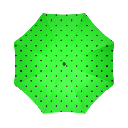 Black Polka Dots on Green Foldable Umbrella (Model U01)