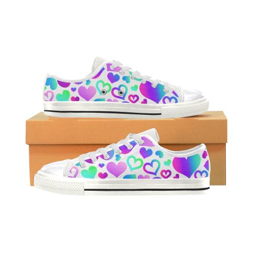Corazones-multicolores Women's Classic Canvas Shoes (Model 018)