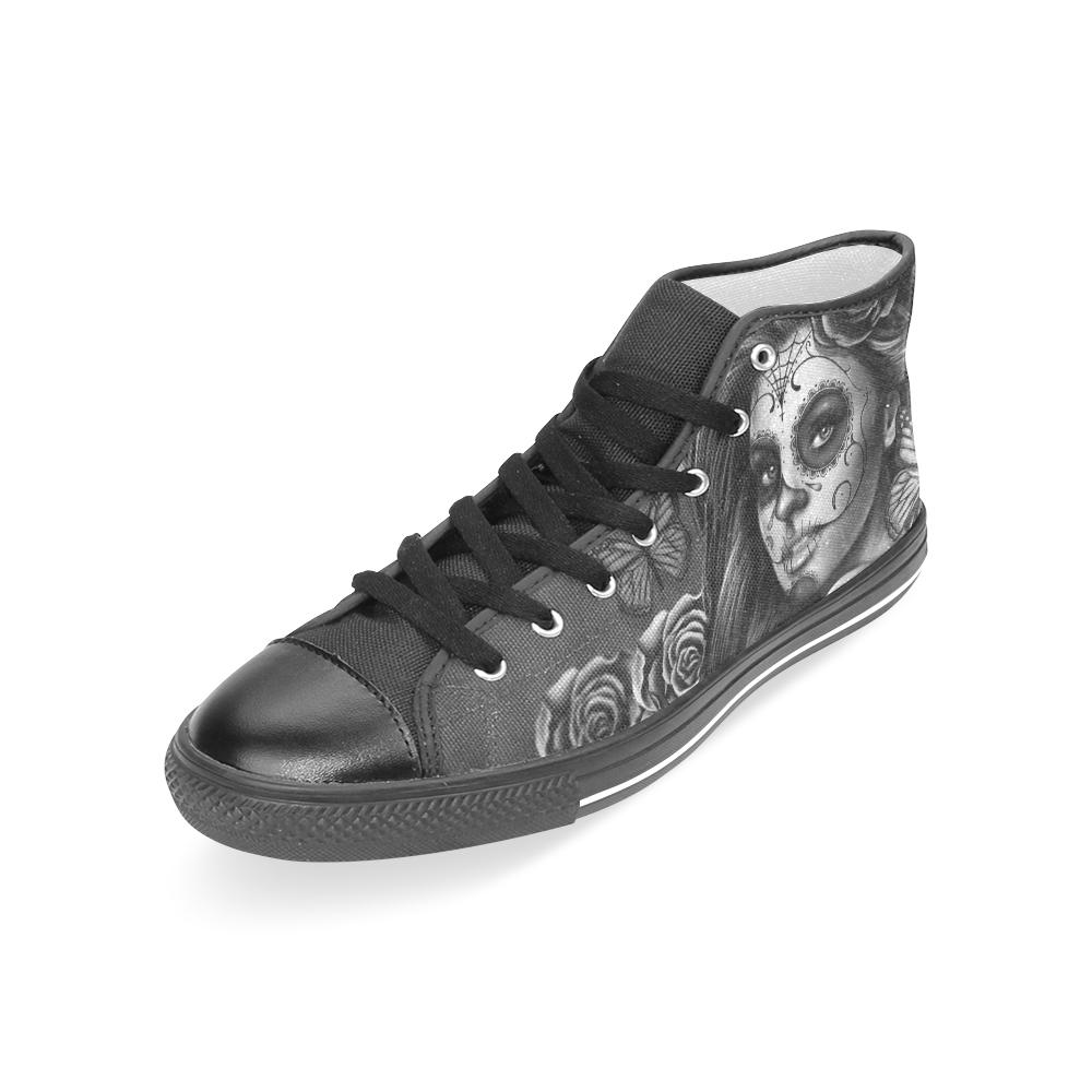 Calavera B&W Black Women's Classic High Top Canvas Shoes (Model 017)