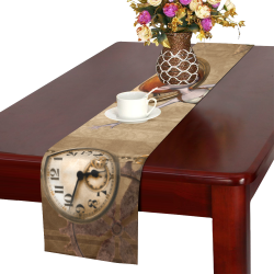Steampunk girl, clocks and gears Table Runner 16x72 inch