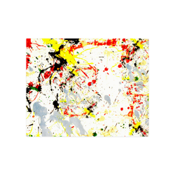 "Black, Red, Yellow Paint Splatter Poster 20""x16"""
