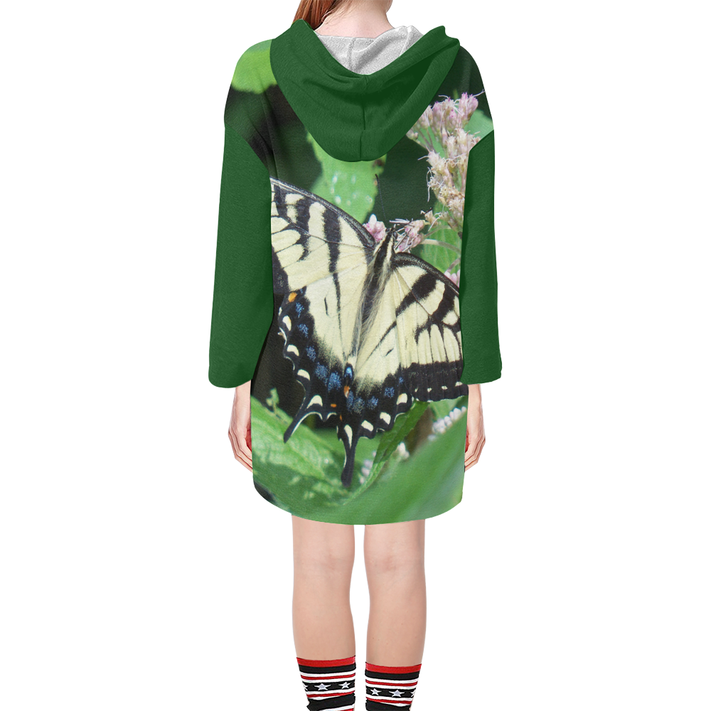 Canadian Tiger Swallowtail Butterfly Step Hem Tunic Hoodie for Women (Model H25)