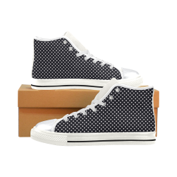 Black polka dots High Top Canvas Women's Shoes/Large Size (Model 017)