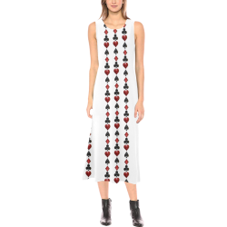 Las Vegas Black and Red Poker Casino Card Shapes on White Phaedra Sleeveless Open Fork Long Dress (Model D08)