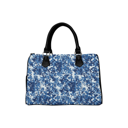 Digital Blue Camouflage Boston Handbag (Model 1621)
