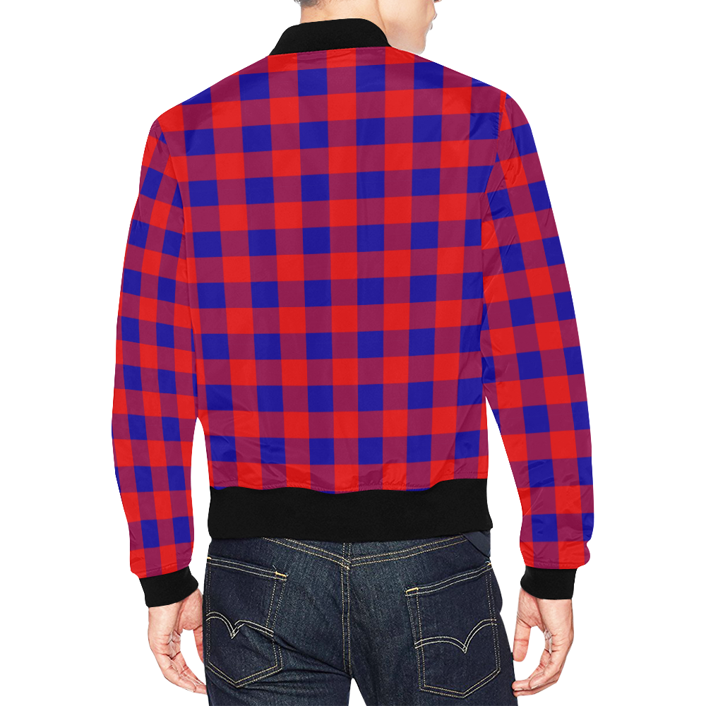 Red and Blue Checkered All Over Print Bomber Jacket for Men (Model H19)