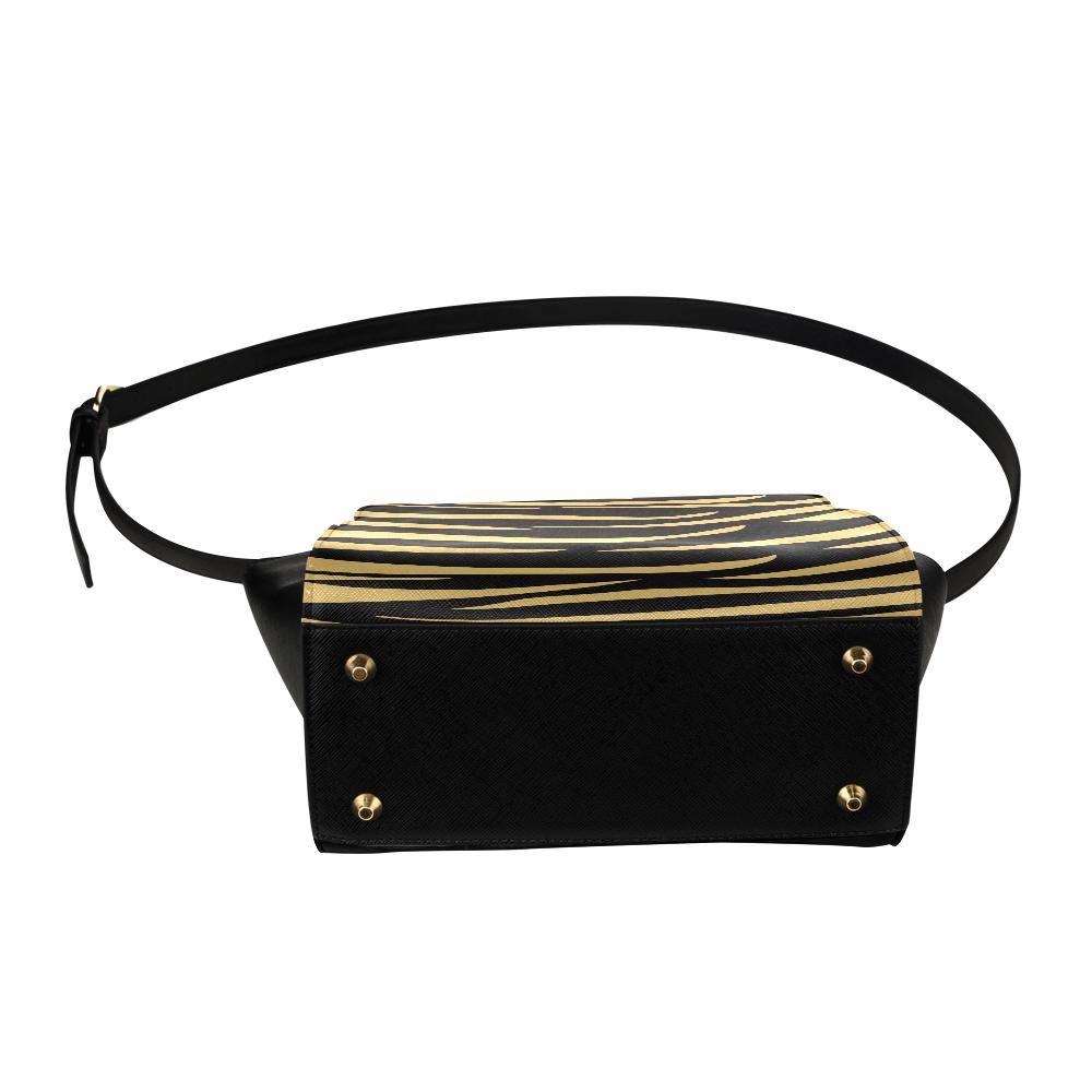 Tiger Stripes Black and Gold Satchel Bag (Model 1635)